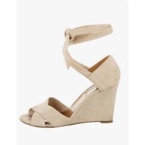 Aquazzura Cream Suede Skinny Wedge Lace Up Heels